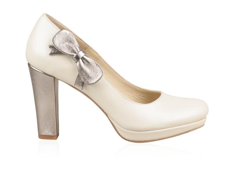Pantofi Mireasa White Silver